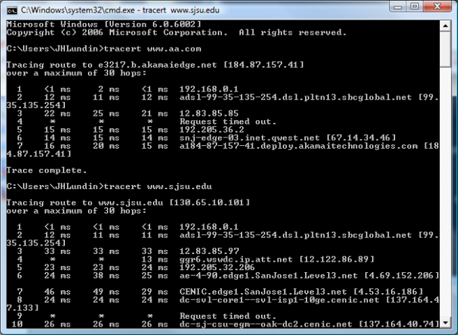 Trace route of the hops to an outside website where hop 4 is problematic